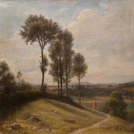 Christian Bang: Italiensk landskab med dame (19XX). I familiens eje. Affotografering af Ole Haupt.