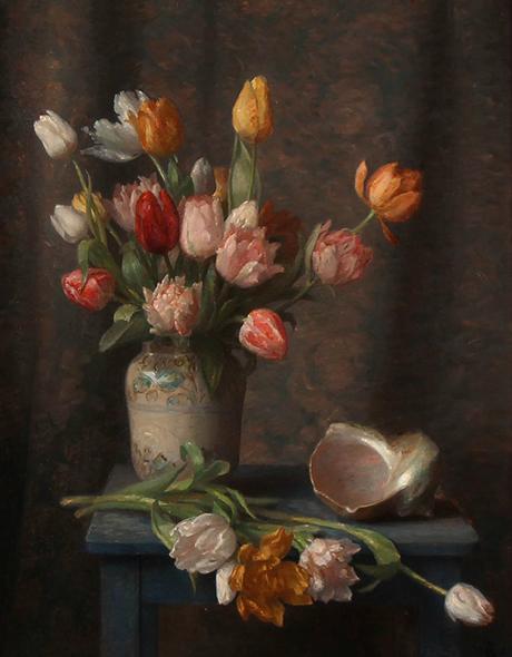 Christian Bang: Blomsteropstilling (1917). Har tilhørt Kongehuset, nu i familiens eje. Affotografering af Ole Haupt.