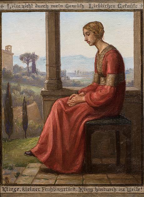 Christian Bang: Motiv med dame i rød kjole (19XX). I familiens eje. Affotografering af Ole Haupt.