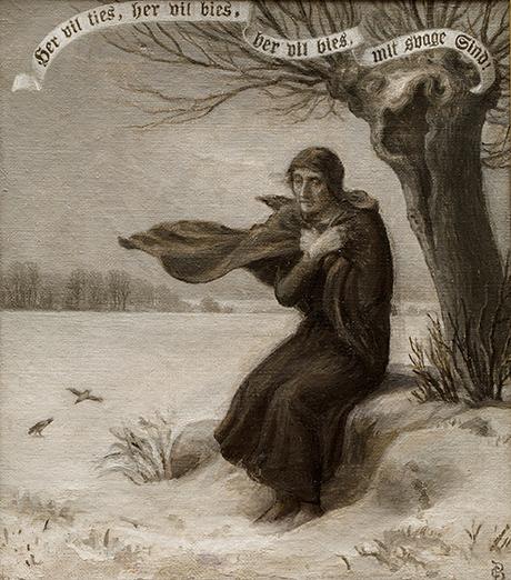Christian Bang: Motiv med salmetekst af H.A. Brorson (19XX). I familiens eje. Affotografering af Ole Haupt.