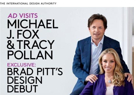 Architectural Digest, med glimt fra den amerikanske skuespiller Michael J. Fox's private hjem, og hans samling af Arne Bang stentøj.