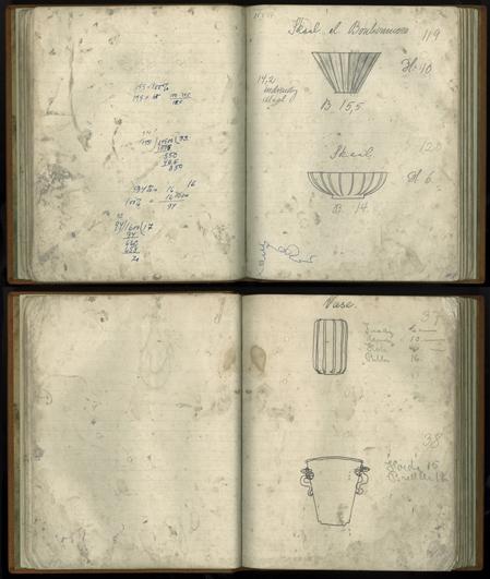 To opslag fra Arne Bangs modelbog. Heri var opført samtlige modeller som blev produceret. Genstandsnummeret påført i bunden, er listet op kronologisk fra denne bog. (1930erne). Skan af Simon Bang. I familiens eje