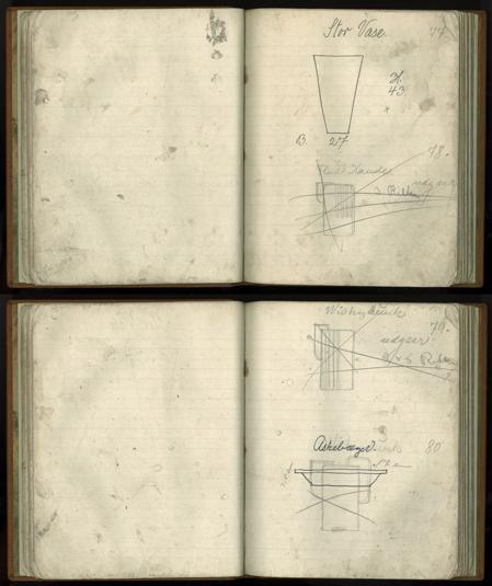 STo opslag fra Arne Bangs modelbog. Heri var opført samtlige modeller som blev produceret. Genstandsnummeret påført i bunden, er listet op kronologisk fra denne bog. (1930erne). Skan af Simon Bang. I familiens eje