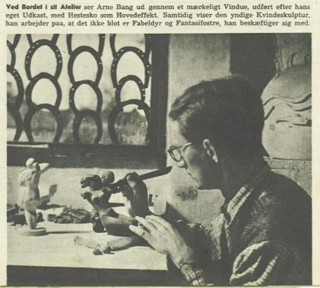 Foto af Arne Bang, der modellerer på figur. (1944). Fotocopyright: Grete Møller, Billed Bladet.