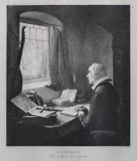 """Christian Bang: """"H. A. Brorson"""" Stentryk. (19XX). I familiens eje. Affotografering af Ole Haupt."""
