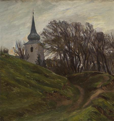 """Christian Bang: """"Motiv med Kirke"""" (19XX). I familiens eje. Affotografering af Ole Haupt."""