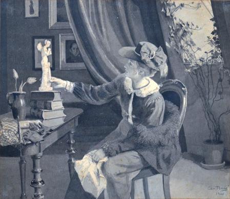 """Christian Bang: """"Bertha med hat"""" Pen og tusch lavering. (1900). I familiens eje. Affotografering af Ole Haupt."""