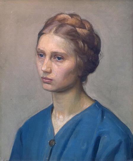 """Christian Bang: """"Bertha med blå bluse"""" (19XX). I familiens eje. Affotografering af Ole Haupt."""