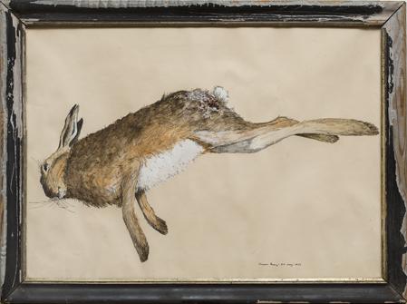 """Simon Bang: """"Trafikdræbt hare"""" (1977). I familiens eje. Affotografering af Ole Haupt."""